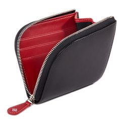 Ettinger London Luxury Leather Sterling Red Zipped Curved Wallet with Key Strap