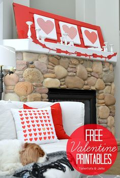 Free valentine printables at tatertots and jello. These printables are adorable for any DIY Valentine decoration project and perfect for the month of February. Great for the any wall or mantle!