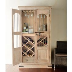 Nice wine cabinet, big enough to store our growing collection Natural Cabinets, Painted Furniture, Home Furniture, Armoire Bar, Knock Down Wall, Wine Decor, Wine Cabinets, Home Upgrades, Cabinet Makeover