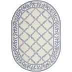 Chelsea Ivory/Blue 7 ft. 6 in. x 9 ft. 6 in. Oval Area Rug, Ivory/Light Blue