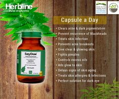 "Do you Know #Neem is termed as ""Queen of the #Skin"" in Ayurveda? #Herbline has brought all the benefits of neem in Pure Himalayan neem capsules, which are easy to use. Just have 1 capsule a day and get rid of all the skin problems. #healthyhabits #madeinhimalayas"