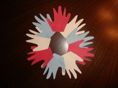 Patriotic handprint wreath craft for 4th of July