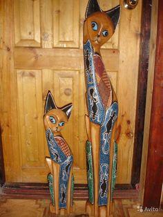Фигурки, статуэтки кошка + кот из дерева 1 м