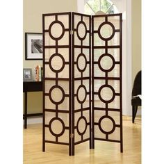 $207.10 Monarch Specialties - Cappuccino Frame 3 Panel  Inch  Circle Design  Inch  Folding Screen - I 4620 - Home Depot Canada