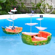 Oh what thrifty summer fun - turn your watermelon rind into a boat for the day!!! Love. Pirates ahoy!