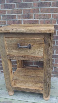 Made To Order Rustic Barn Wood End Table With A Drawer And An Open Shelf