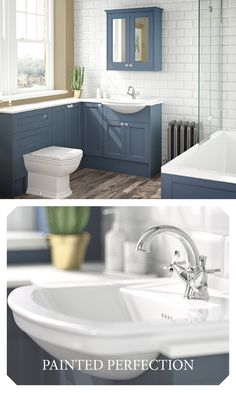 Looking for that extra level of period luxury? Take a look at Roseberry - Utopia's stunning range of painted timber bathroom furniture, shown here in Peacock Blue. Black Marble Bathroom, Marble Bathroom Accessories, Modern Bathroom, Bathroom Ideas, Grey Furniture, Bathroom Furniture, Ceiling Mounted Shower Head, Bath Shower Screens, Grey Baths