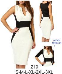 Z19 Vestido con corte bajo busto. Telas: Punto roma. Consumo talla L: Marfil: 80 cms. Negro: 90 cms. Aprox.
