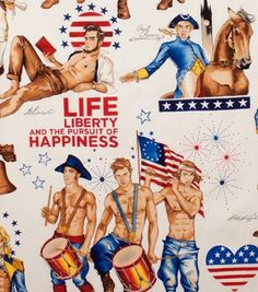 """Male pin-ups on campy """"Alexander Henry"""" Patriotic Fabric."""