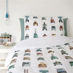 A crisp white cotton single bed set featuring work vehicles of every kind. Contains 1 duvet cover x and 1 pillowcase x Single Bedding Sets, Duvet Sets, Pottery Barn Teen Bedding, Black Bed Linen, Lit Simple, Childrens Beds, Luxury Bedding Sets, Baby Boy Rooms, Cozy Bed