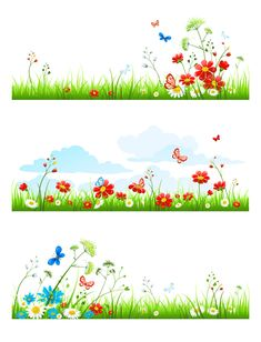 Summer flower with butterflies nature elements vector 02 free