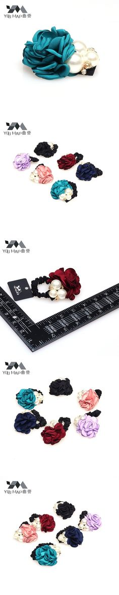 YouMap Fashion Elastic Hair Bands Big Pearl Rose Flower Headband Solid Accessories For Women Girls Jewelry A16R5C