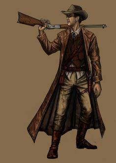 A character archetype for Lore of Steel - the Campaigner. Obviously quite a heavy wild west influence, including an rifle! Lore of Steel - Campaigner Steampunk Characters, Dnd Characters, Fantasy Characters, Character Concept, Character Art, Concept Art, Character Design, Sketch Inspiration, Character Inspiration