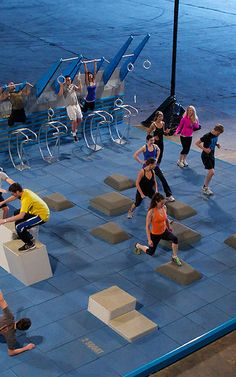 The National Fitness Campaign's (NFC) court, designed by NewDealDesign