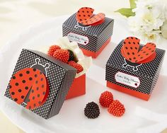 Personalized Ladybug Favor Boxes - Favor Packaging and Containers