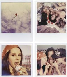 Unedited Polaroids of Lana Del Rey and photographers Chuck Grant and Naomi Shon during their visit at Coney Island, shot by Francesco Carrozzini