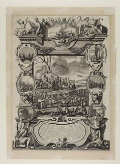 """March of the King's forces and cannon to Perth. The seven small pictures have the titles """"Battle of Dunblain"""", """"E. of Mar Plotting Against Ye King"""", """"Proclaiming ye Pretender"""", """"Attempt to Surprise Edinburgh Castle"""", """"Highlanders Passing"""", """"B.p's &c. addressing ye Pretender"""", and """"Pretender's Flight"""". The main picture shows men marching to Perth, long line of troops from foreground to background, winding around land, with horses."""