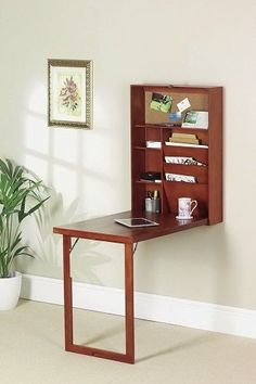 Wall Mounted Fold Down Desk Hanging Bookshelf Writing Table Shelves Bookcase Oak Drop Down Desk, Fold Down Desk, Table Shelves, Table Storage, Wall Mounted Folding Table, Hanging Bookshelves, Bookcases, Bay Window Curtain Rod, Floating Desk