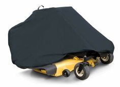 "Zero Turn Mower  $39.99 FEATURES • Mildew resistant fabric will not shrink or stretch • Elastic cord in hem for a quick and custom-like fit • Protects against sun damage, rain, dust, birds and tree sap • Air vent lets air circulate and prevent ballooning  • Handy storage bag • 1 year warranty  Note: May not cover some accessories such as grass catchers or mulcher.  SIZING   81""L x 44""W x 47.5""H  Fits all zero turn lawn mowers with mowing decks up to 50"""