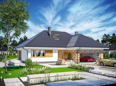 Wizualizacja ARP PADME CE House Plans Mansion, House Roof, My House, Village House Design, Village Houses, House Layout Plans, House Layouts, Backyard Pavilion, Hip Roof