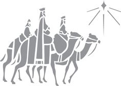 Glass etching stencil of Wise Men Following Star. In category: Characters, Christmas