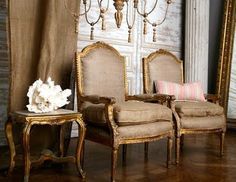 Opposites attract when formal chair frames are upholstered in a casual burlap fabric. Great as a drapery option as well. nationaldrapery.com http://nationaldrapery.com/blog @draperycanada