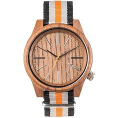 WeWood Wooden Watch - Torpedo Nut Orange (WTNTOR) - LIMITED STOCK (940.755 IDR) ❤ liked on Polyvore featuring jewelry, watches, wood watches, wooden jewelry, wood jewelry, wooden wrist watch and wewood watches