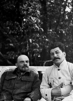 Lenin and Stalin at Gorki, just outside Moscow, September 1922