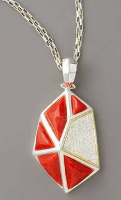 Kara Ross Faceted Coral Pendant Necklace