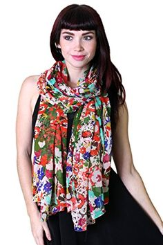 Women Emma Colorful Floral Print Scarf, Soft, Lightweight... Floral Fashion, Fashion Prints, Women's Fashion, Chiffon Scarf, Sheer Chiffon, Striped Scarves, Designer Scarves, Floral Scarf, Fashion Scarves