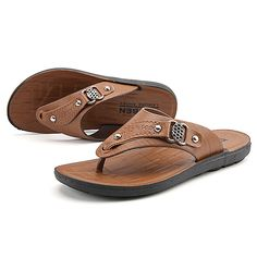Men's Shoes PU Fabric Spring Fall Comfort Sandals For Casual Dark Brown Brown 2017 - $11.99
