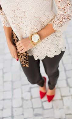Elegant chic with lac detail top, leopard and black