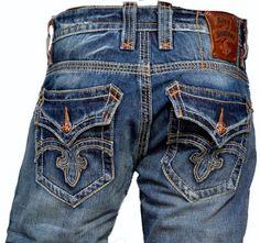 33a880ea067 $148 Amazon.com: Rock Revival Men Bootcut Jeans Mick 02 Fleur Flap Dark Wash