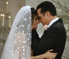 General Hospital~Sonny (Maurice Bernard) & Brenda (Vanessa Marcil) when they finally got married on screen. Look at the polka dots.
