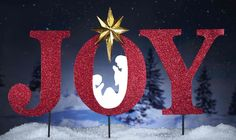 Joy Inspirational Holiday Garden Stakes Nativity By Collections Etc decoration Diy Christmas Yard Decorations, Christmas Yard Art, Christmas Signs, Christmas Projects, All Things Christmas, Christmas Holidays, Christmas Ornaments, Outdoor Decorations, Christmas Displays