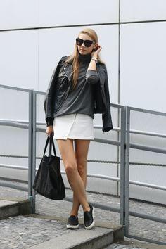Pavlína Jágrová - LINDEX sweater. | PULL&BEAR jacket. | H&M skirt. | STEVE MADDEN shoes. | CÉLINE bag and sunnies. | MICHAEL KORS watch.