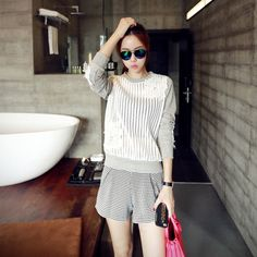 New Womens Fashion Casual Hollow Out Applique Long Sleeve Casual Loose Pullover Sweatshirt