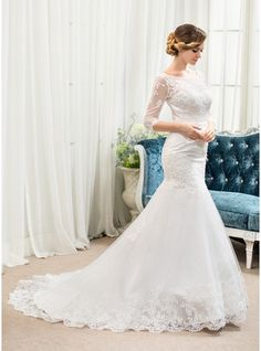 Trumpet/Mermaid Scoop Neck Court Train Beading Zipper Up Covered Button Sleeves 3/4 Sleeves Church General Plus No Spring Summer Fall Ivory Tulle Lace Wedding Dress