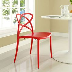 Enact Dining Side Chair, Red - Enjoy bursts of creativity and bouts of exuberance with the Enact Modern Dining Side Chair. Designed with an inspired back pattern and fluid molded plastic arm and seat construction, Enact is a progressive piece perfect for modern dining rooms, kitchens, and casual seating areas. The Enact Modern Dining Side Chair features non-marking feet, comes fully assembled and stackable, and easily wipes clean. Set Includes: One - Enact Dining Side Chair. Material: Frame…