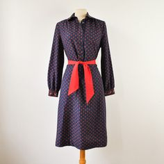 70s Navy Paisley Shirt Dress now featured on Fab.