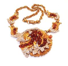 Early Designer Rhinestone Pave Curled Leaf Medallion Necklace