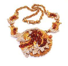 Early Designer Rhinestone Pave Curled Leaf Medallion Necklace