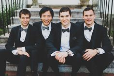 Classic black tuxes with unique bow-ties. These groomsmen are styling'!  Gorgeous Algonquin Resort Wedding in St. Andrews By-The-Sea by www.shannonmayphotography.com