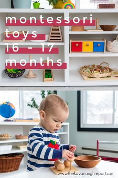 Montessori friendly toy ideas and a look at our play shelves for 16 to 17 months. These are perfect Montessori play ideas for 1-year-olds. Montessori Toddler, Toddler Play, Montessori Activities, Learning Activities, Preschool Activities, 17 Month Old Baby, Family Child Care, Learning Tower, Lakeshore Learning