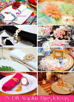 DIY Napkin Rings for Party Tables - such cute ideas for any party, or for a wedding or bridal shower!