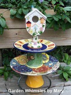 Garden totem Birdhouse Blues; Garden Whimsies by Mary