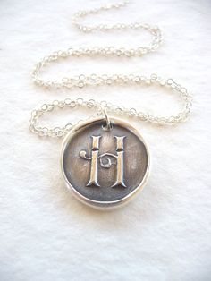 Wax seal necklace initial monogram jewelry by DreamofaDream, $35.00