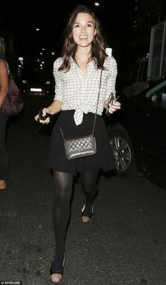 Keira Knightley wearing Steven Alan Silk Boyfriend Shirt, Chanel Boy Calfskin Wallet. Keira Knightley Out in London August 2013