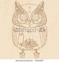 Decorative animal. Steam punk owl. by Mrs. Opossum, via ShutterStock
