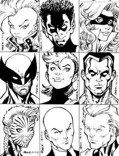 1980's X-Men: Storm, Nightcrawler, Shadowcat, Wolverine, Rogue, Colossus, Phoenix II, Professor X , & Magneto by Todd Nauck